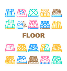Floor material layers renovation icons set vector
