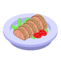 Garnish with meat icon isometric style vector
