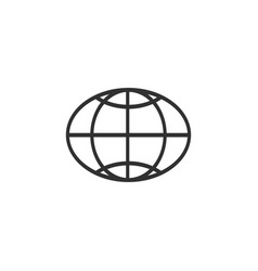 Globe icon oval globe symbol flat vector