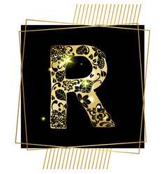 golden ornamental alphabet letter r font vector image