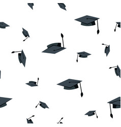 graduation hat seamless pattern school vector image