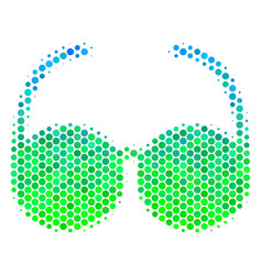 Halftone blue-green spectacles icon vector