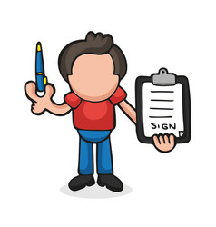 Hand-drawn cartoon of man holding pen and vector