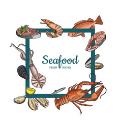 hand drawn seafood elements flying vector image