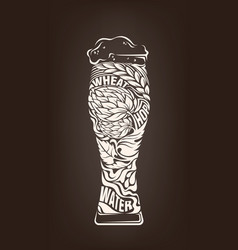 hand drawn vintage graphic with beer glass and vector image
