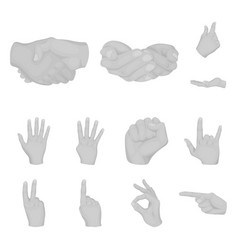 Hand gesture monochrome icons in set collection vector