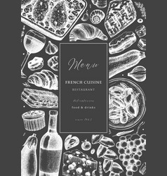 hand sketched french cuisine picnic flyer on vector image
