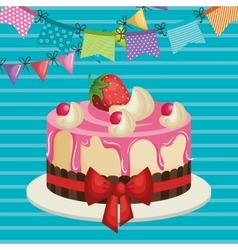 Happy birthday invitation with sweet cake vector