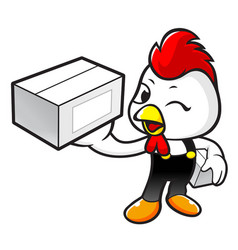 Happy chicken character holding a courier box vector