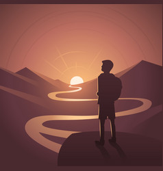 Hiker contemplating sunset landscape scene vector