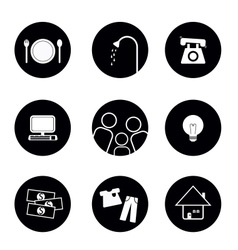 icons of living elements in black and white vector image