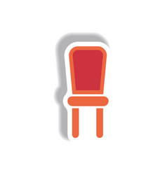 In paper sticker style chair vector