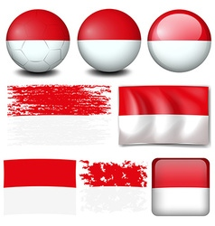 Indonesia flag on different items vector image