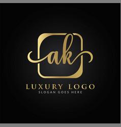 Initial ak letter logo design template creative vector