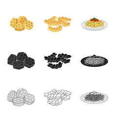 Isolated object pasta and carbohydrate icon vector