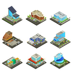Isometric modern supermarket buildings set vector
