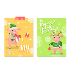 joy and happy holidays greeting cards 2019 vector image