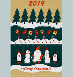 Merry christmas and new year 2019 greeting card vector