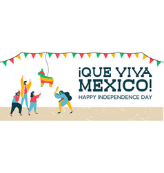 mexico independence banner of mexican pinata party vector image