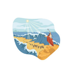 moses separation red sea bible concept vector image
