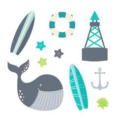 nautical set with underwater inhabitants and vector image