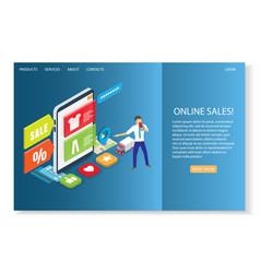 online sales website landing page design vector image