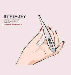 Oral thermometer tempereture measuring healthcare vector
