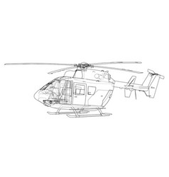 Outline drawing of helicopter vector