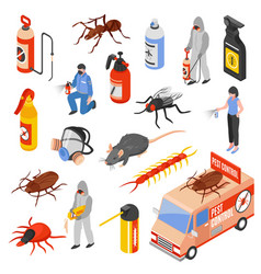pest control 3d isomeric set vector image vector image