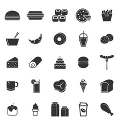 Popular food icons on white background vector