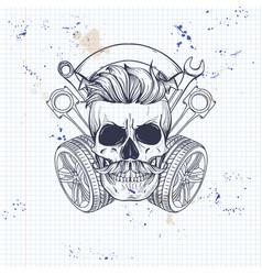 Racer skull with helmet vector