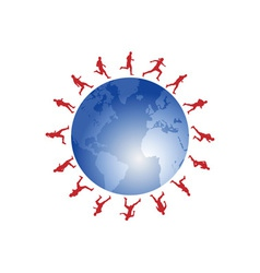 red runners around the world vector image