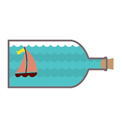 Sailboat In A Glass Bottle vector image