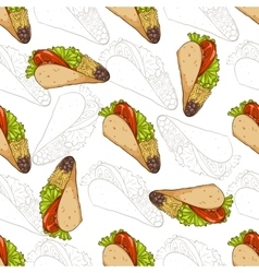 Seamless pattern taco scetch and color vector