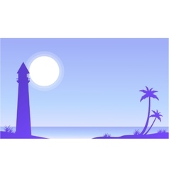 Seaside scenery with palm and lighthouse vector