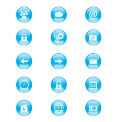 set blue and white circular buttons vector image