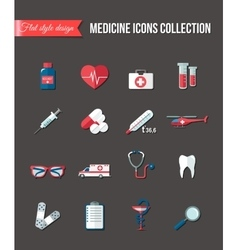 set medicine healthcare flat icons thermometer vector image