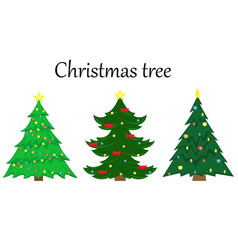 set of 3 christmas trees with decoration vector image