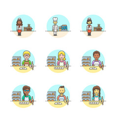 set of multicolor food icons vector image