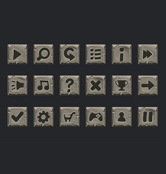 set of stone buttons for web or game design vector image