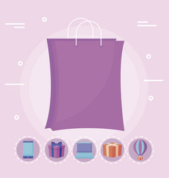 shopping bag with set icons vector image