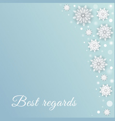 Snowfall background with white dots and snowflake vector