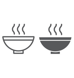 soup line and glyph icon food and meal hot soup vector image