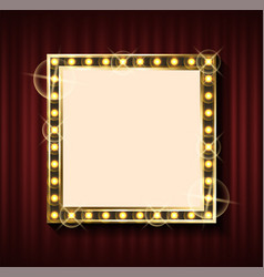 square frame with golden lights red curtain vector image