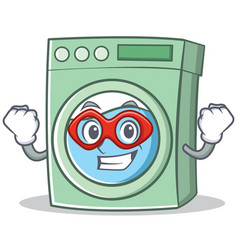 Super hero washing machine character cartoon vector