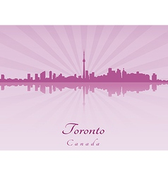 Toronto skyline in purple radiant orchid vector