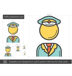 Traffic policeman line icon vector