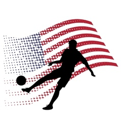 United states soccer player against national flag vector