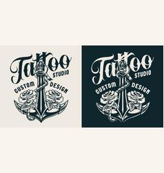 Vintage tattoo studio print vector