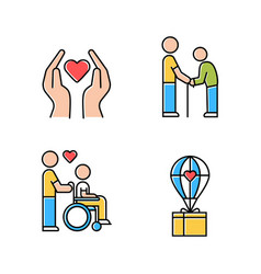 Volunteering color icons set charity project vector